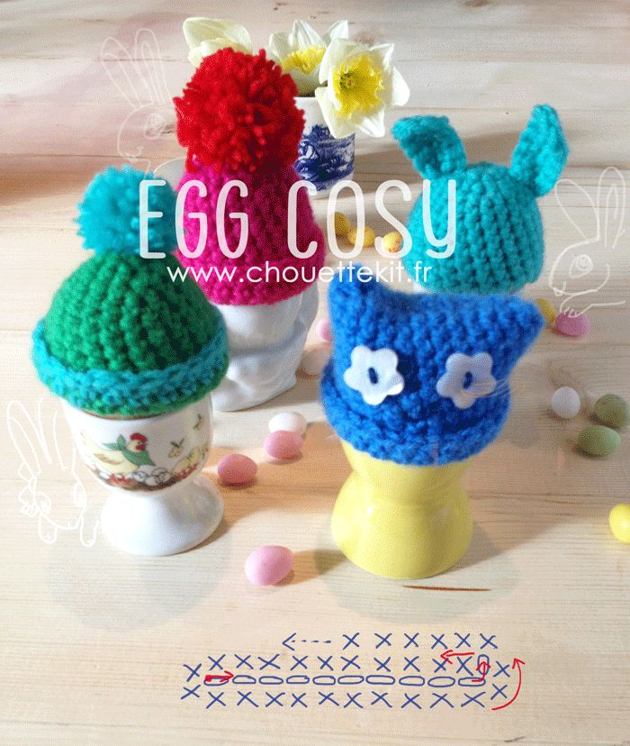 Crochet Egg Cozies - chart (not the one on picture above) and instructions at http://www.tambouille.fr/2013/03/20/petits-bonnets-doeufs-de-paques-tuto/  in French, so translate
