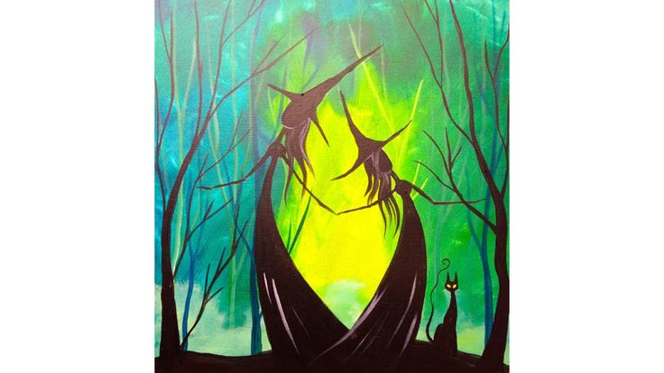 """BEGINNER HOW TO PAINT art lesson """" Adorable Witch Sisters in the woods """" with a black cat in acrylic art tutorial. Create this easy HALLOWEEN PAINTING in acr..."""