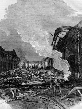 1877 Patent Office northern wing portion, morning after fire on 24 September 1877.
