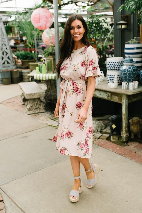 592de7d281 Emily midi floral dress in blush in 2019