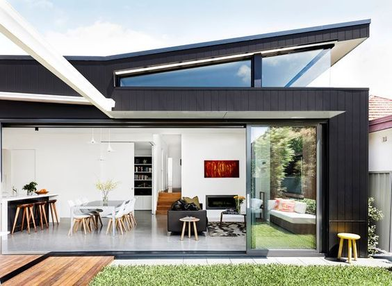 """A wraparound clerestory window was designed to capture northern light. The rear elevation is clad in [James Hardie](http://www.jameshardie.com.au/?utm_campaign=supplier/ target=""""_blank"""") Scyon Axon cement-composite panels. Dining table, [Space](http://www.spacefurniture.com.au/?utm_campaign=supplier/ target=""""_blank""""). Chairs, [Freedom](http://www.freedom.com.au/?utm_campaign=supplier/ target=""""_blank""""). Sofa, [Fanuli](http://www.fanuli.com.au/?utm_campaign=supplier/ target=""""_blank"""")…"""