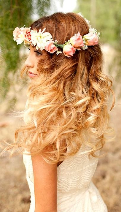 Bridal Hair Down With Flowers : Best images about hair on brides bridal