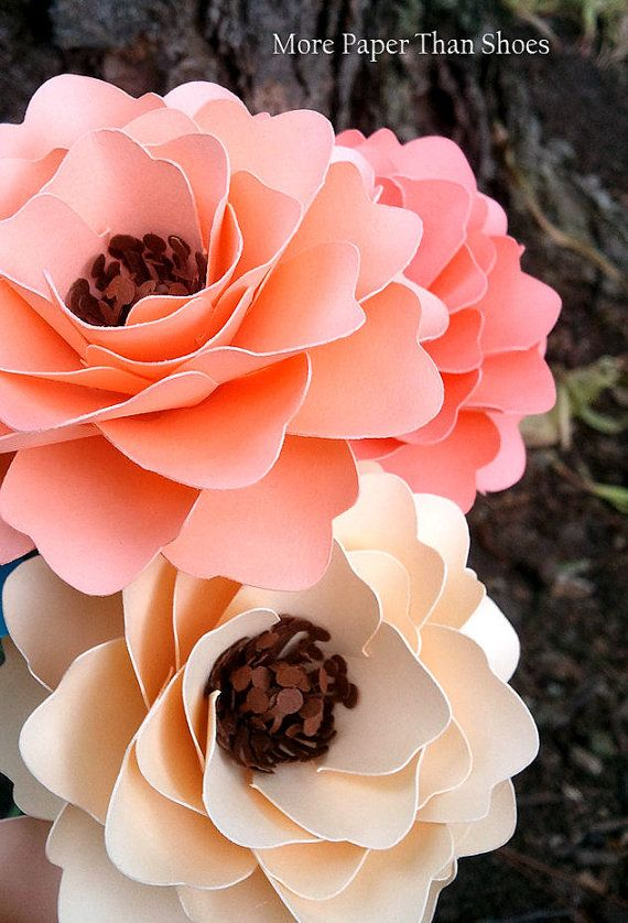 Paper Flowers - Wedding Decor - Bridal Shower Decor - Table Decorations - Mixed Colors - Made To Order - Set of 12