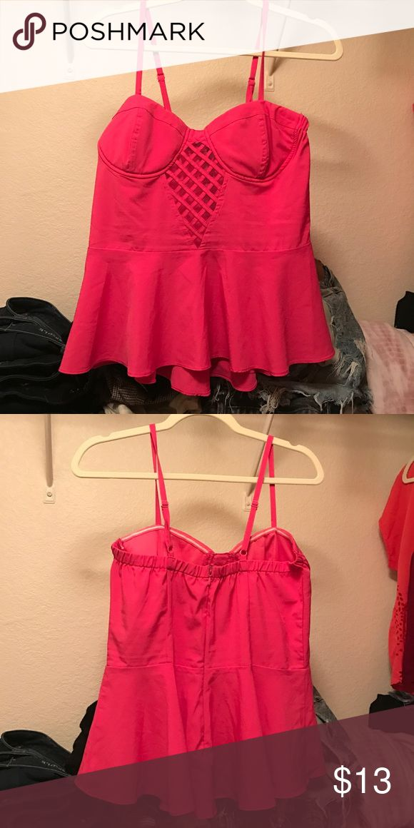Bright pink peplum top Bright pink peplum cami tank top with mesh crisscrossing on chest. Bought from a boutique in AZ do & be Tops Tank Tops