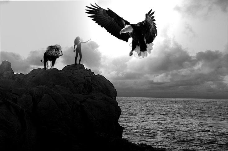 """Autora: Clara María //  Este sueño fue muy especial para mí, lo he llamado """"El águila y el león"""" porque durante el sueño andaba por fantásticos lugares acompañada de un león que era mi fiel amigo, para culminar después con la aparición del águila que me dejaba acariciarla. En general, el sueño se basó solo en eso, pero lo recuerdo con mucho cariño, ambos animales me parecen fuertes y poderosos."""
