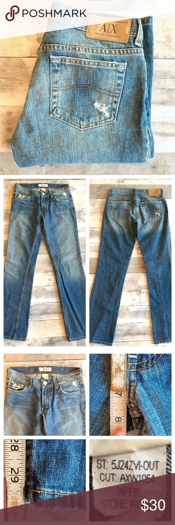 A/X - Viper Bootcut Denim light distress Armani Exchange Viper bootcut Denim Jeans Made in USA Light distressing  Measurements shown in pictures  🚫 Trades 🚫 Modeling   Thanks for checking out this item! 😊 Be sure to add other items from my Closet to your Bundle before you Checkout for 15% discount off your order! A/X Armani Exchange Jeans Boot Cut