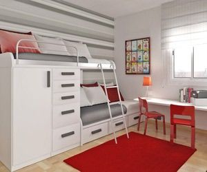 Space-Saving Solutions for Kids and Teens: Asymmetrical Bunk Beds: Tradition with a Twist