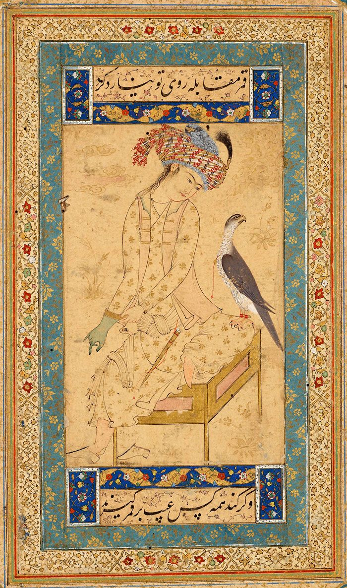 Youth Pulling on a Falconer's Glove | Leaf from the Read Persian Album | Afghanistan, HeraT | ca. 1600 | The Morgan Library & Museum