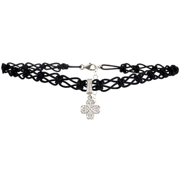 Latelita London - Choker Lucky Clover Sterling Silver (335 HRK) ❤ liked on Polyvore featuring jewelry, necklaces, black and gold choker necklace, charm necklace, sterling silver charm necklace, black and gold choker and clover leaf necklace
