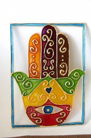 hamsa o mano de fátima hamsa hamsa,vidrio,vitrail vitrail,pintura
