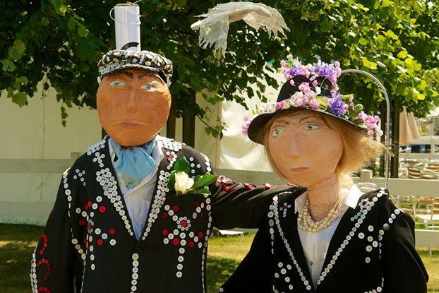We love these pearly king and queen scarecrows from this years RHS Hampton Court Flower Show Competition!