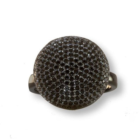 Rhodium Plated Silver Ring With Black Cubic Zirconia
