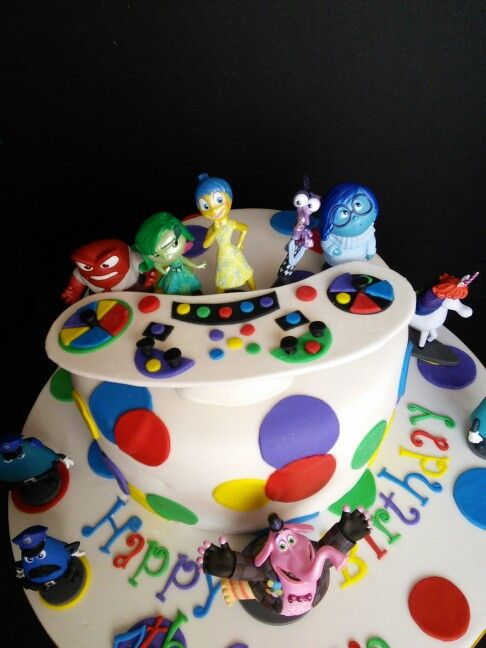 Disney Pixar Inside Out birthday cake Figurines purchased at the Disney Store and controls table made out of fondant and gumpaste. I had to wing it with the controls. The movie is so new, it was hard to find an image to copy from. Oh! And flavor inside? Chocolate cake with cookies and cream filling :)