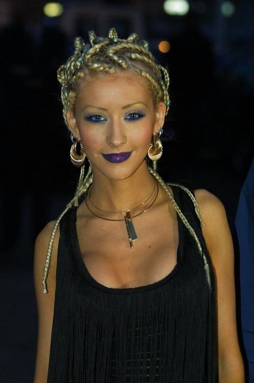 Christina Aguilera purple lips
