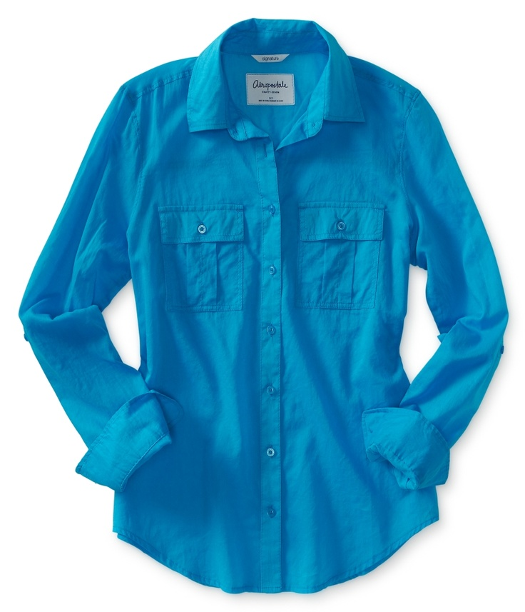 Long Sleeve Sheer Woven Shirt - Aeropostale