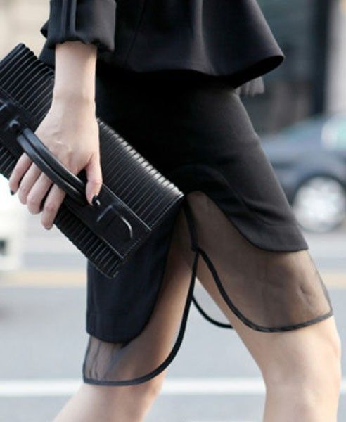 what-do-i-wear:    Fake Twin Set Skirt with Sheer Mesh Details available from Chicnova     for the hand-bag