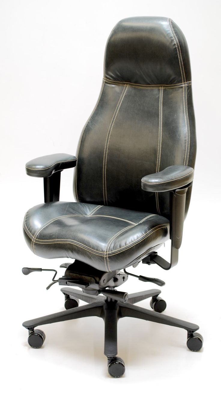 Thick Cream Contrast Stitch on 2390 High Back Executive Chair in Echo Charcoal Premium Leather.