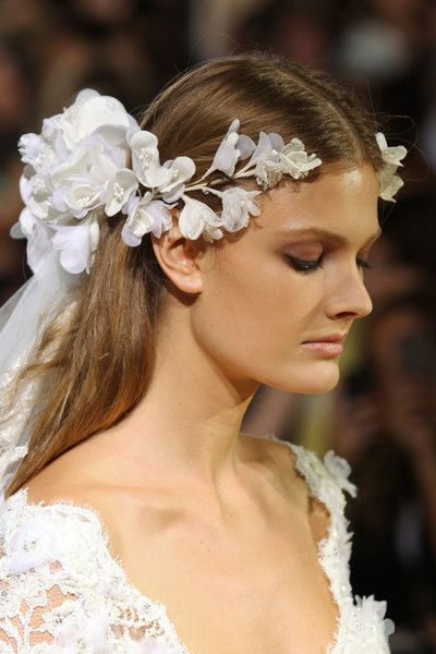 Bridal Floral Headpiece & soft nude earthy  makeup |  Zuhair Murad Fall Winter 2012 Haute Couture Fashion