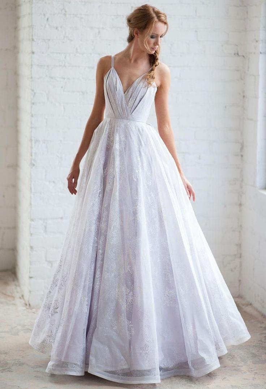 Tara LaTour Fall 2016 purple embroidered lace overlay A-line wedding dress | https://www.theknot.com/content/tara-latour-wedding-dresses-bridal-fashion-week-fall-2016