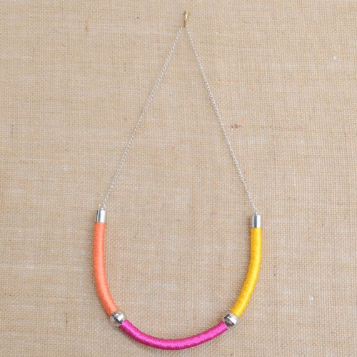 Holi Orange Pink and Yellow Cord Necklace