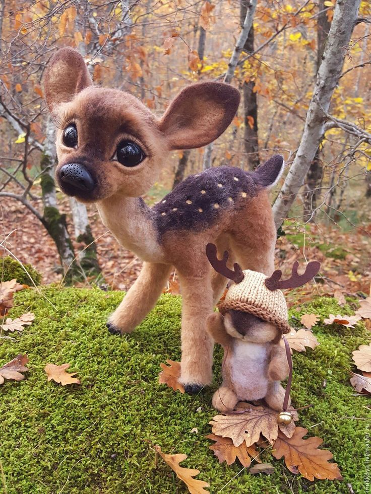 Купить Оливия и Оливер - коричневый, олень, олень игрушка, оленьи рога, заяц, зайчик