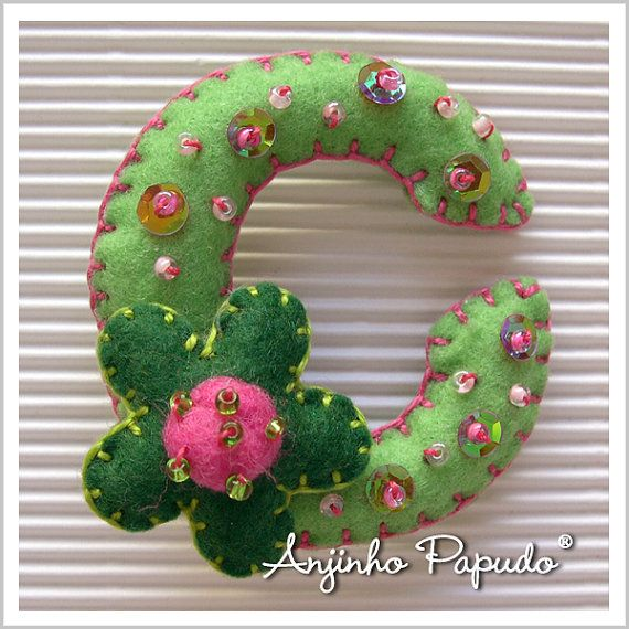 Letter Brooch C felt pin embroidered brooch a by anjinhopapudoShop.