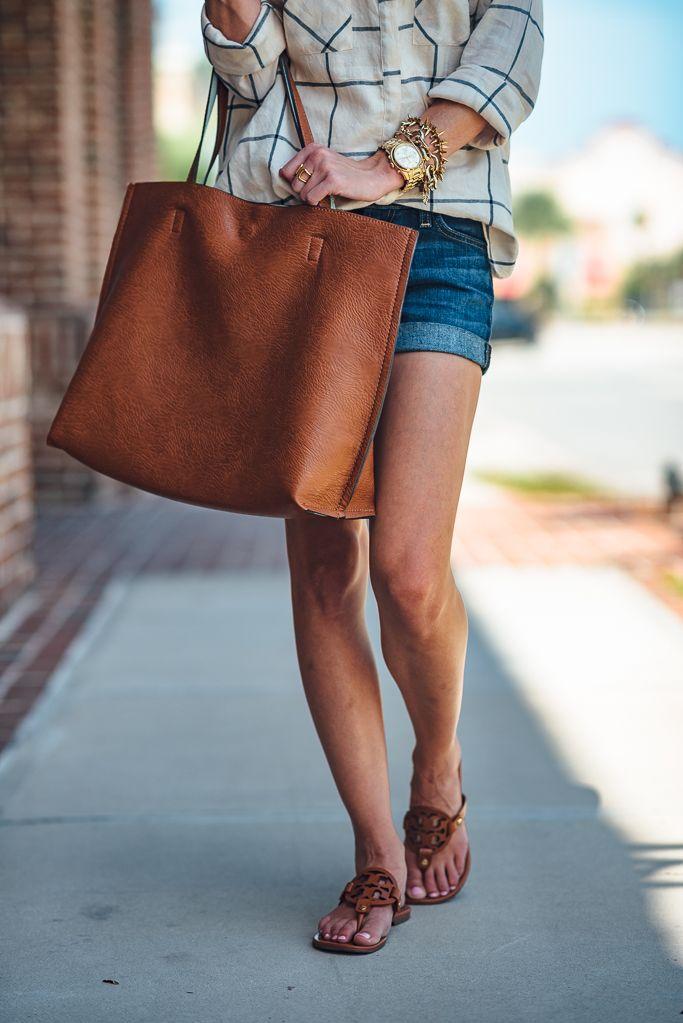 Denim shorts, saddle brown large tote and sandal.