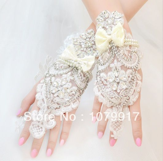 gratis verzending groothandel handgemaakte luxe knipsel parel lucy verwijst naar de bruiloft handschoenen kant bruids bloem strass accessoires $26.80