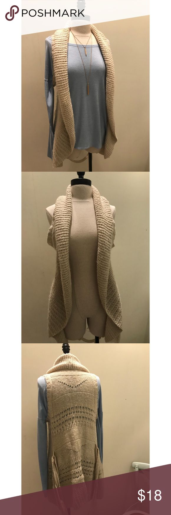 Warm, cream vest for a nice day out Super soft, extremely comfy sweater-material vest for over top anything.  LARGE (can fit a small) Always accepting offers ❤️❤️ Jackets & Coats Vests
