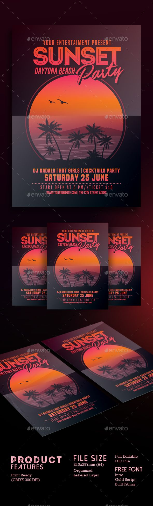 Sunset Beach Party Flyer Template PSD. Download here: http://graphicriver.net/item/sunset-beach-party-flyer/16644176?ref=ksioks
