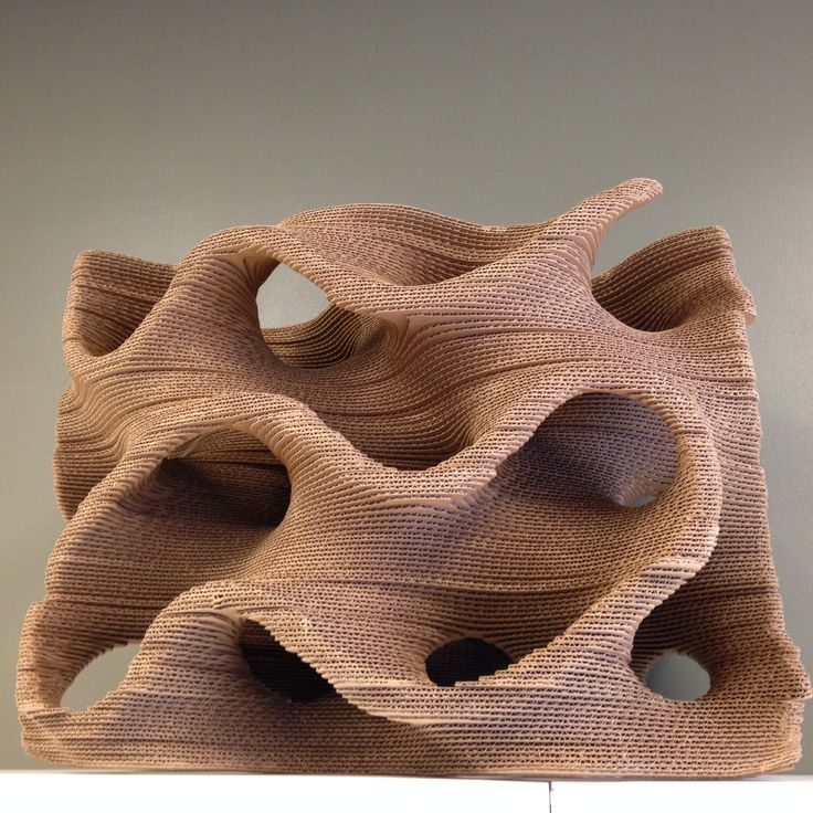 Cardboard model of our gyroid exhibit. Much easier to make in cardboard than in…
