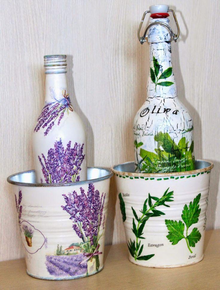 Odkryte pasje Zioowo lawendowo Glass CraftDecoupageDecorated BottlesHandmade
