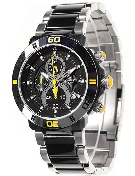 DETOMASO Men's Tiago Quartz Watch with Black Dial Analogue Display and Multicolour Stainless Steel Bracelet DT2009-B