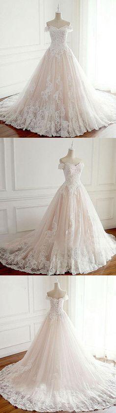 Unique lace tulle long wedding dress, lace long bridal dress, champagne tulle lace long prom dress #lacedresses