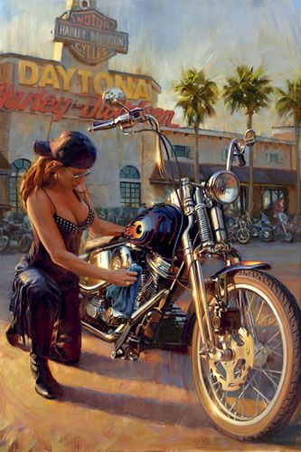 David Uhl was born into a family of engineers and artists which made him particularly suited for capturing the lifestyle inherent in motorcycling culture. After several years at the helm of Uhl Studios, an award-winning illustration company, David fulfilled his desire to move into Fine Art. In 1998, he created his first oil painting and, upon taking it to Harley-Davidson headquarters in Milwaukee, he was eagerly welcomed as the first ever licensed oil painter for The Motor Company.