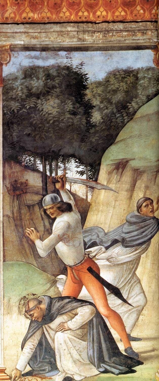 DOMENICO GHIRLANDAIO (1449 - 1494) |  Martyrdom of St Peter Martyr - 1486/90. Fresco | Cappella Tornabuoni, Santa Maria Novella, Florence.