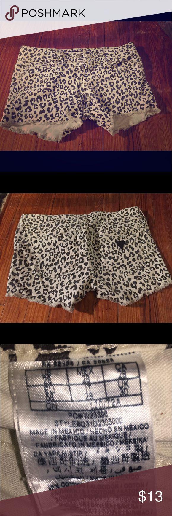 leopard shorts white jean leopard print shorts Guess Shorts Jean Shorts