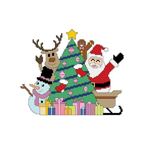 PDF schema punto croce selfie di Natale  cross stitch pattern