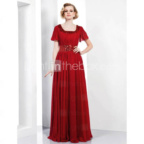 Sheath/ Column Scoop Floor-length Chiffon Sequined Evening Dress