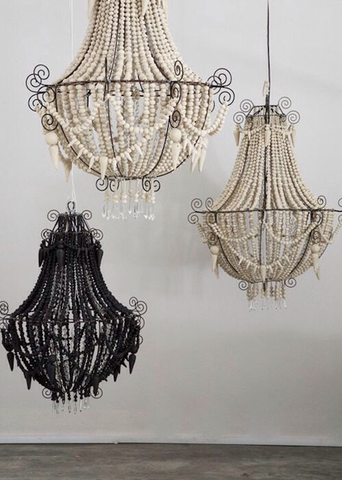 Add a subtle touch of mardi gras to your home with a little beaded furniture. The slightly sinister edge to these beaded chandeliers makes them a truly statement piece.