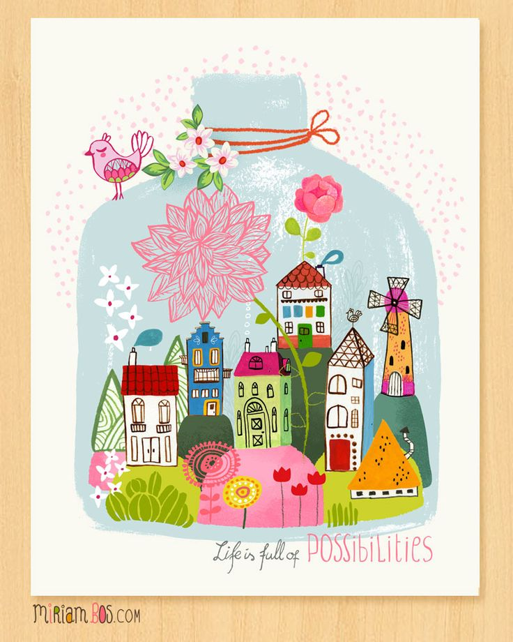 Life is full of possibilities by Miriam Bos - available at Oopsy Daisy as wall art. #illustration #miriambos #oopsydaisy