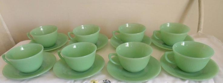 Lot Of 8 Jadeite Jane Ray Ribbed Teacups And Saucers Anchor Hocking vtg & 7 best Jadeite Dinnerware images on Pinterest | Cutlery Dinner ware ...