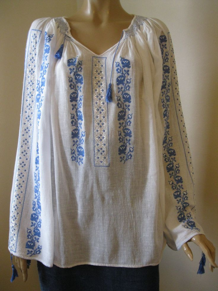 Romanian traditional blouse, rows of blue flowers - size L/XL by RealRomania on Etsy