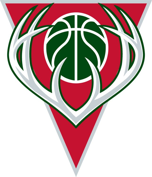 Milwaukee Bucks Logo - Silver antlers with a green basketball on a red triangle (SportsLogos.Net)