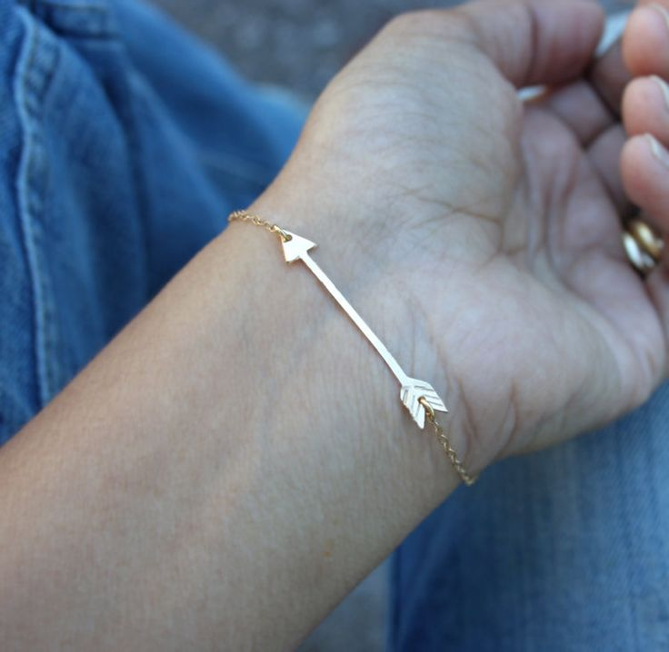 Horizontal gold arrow bracelet - Delicate slim 14k gold handmade arrow pendant