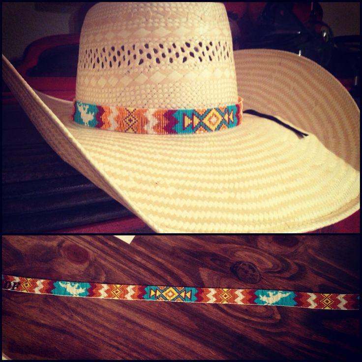 Beaded hat band. K bar heart beads.