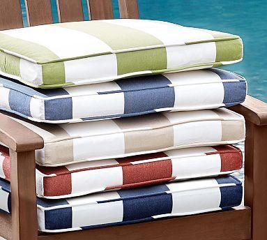 Outdoor Piped Dining Chair Cushion - Striped Sunbrella® - $89 per cushion!!!!