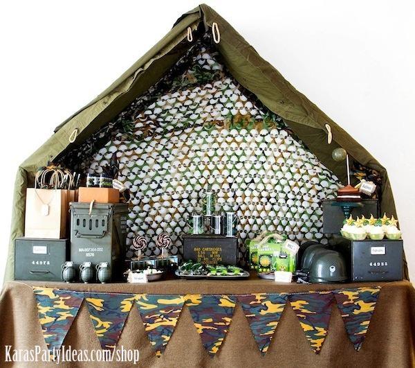 Camuflaje del ejército temáticas cumpleaños Ideas del planeamiento del partido a través de ideas de la fiesta de Kara - www.KarasPartyIdeas.com-44