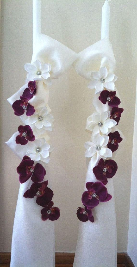 Magnolia and Orchid Greek Wedding Lambathes / Greek Wedding Candles