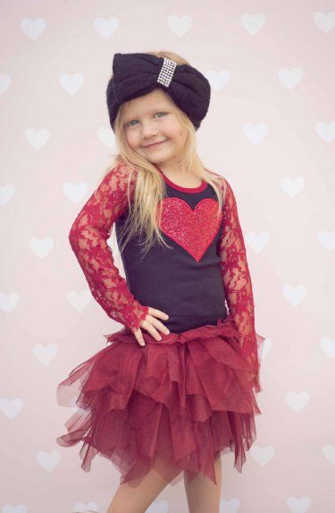 ooh lala red glam heart lace sleeve dress preorder 2 to 14 years girls valentine dresseslace sleeve - Girls Valentine Dress